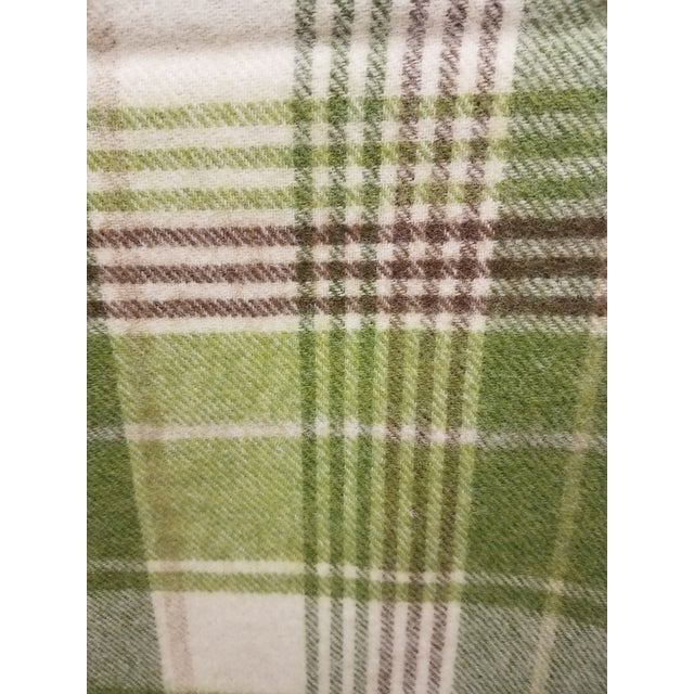 Textile Merino Wool Throw Greens Brown and White Plaid - Made in England For Sale - Image 7 of 11