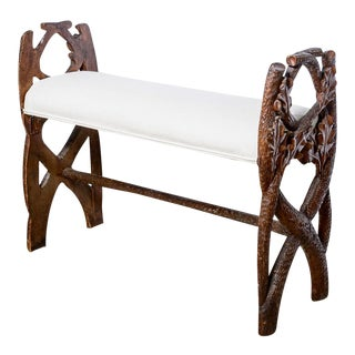 Antique Black Forest Hand Carved Bench, 19th C. For Sale