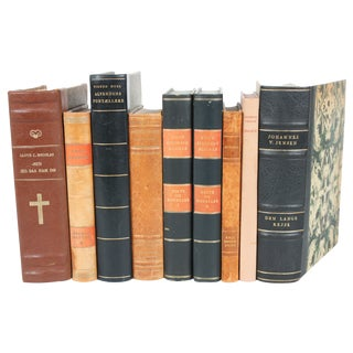 Scandinavian Decorative Leather Books - Set of 9