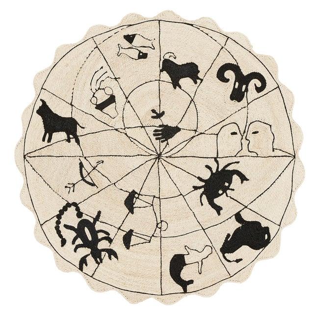 "2010s Modern Charlap Hyman Herrero Astrologia Zodiac Beige Abaca Fiber Round Rug- 5'10"" X 5' 10"" For Sale - Image 5 of 5"