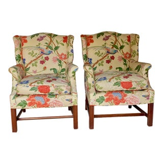 Vintage Wingback Chairs in Brunschwig Fabric - a Pair For Sale