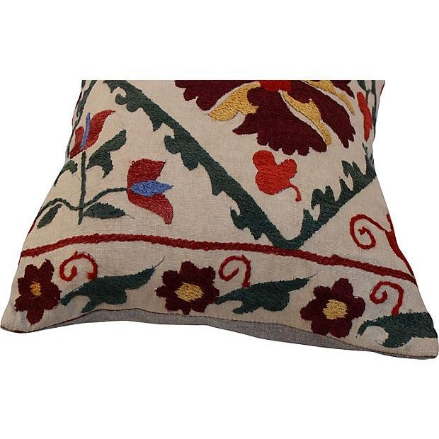 Embroidered Suzani Lumbar Pillow - Image 3 of 4