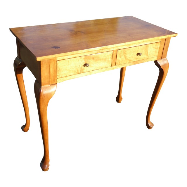 1970s Queen Anne Birch Wood Cedar Lined Two Drawer Writing Desk With Leaf Inlay For Sale
