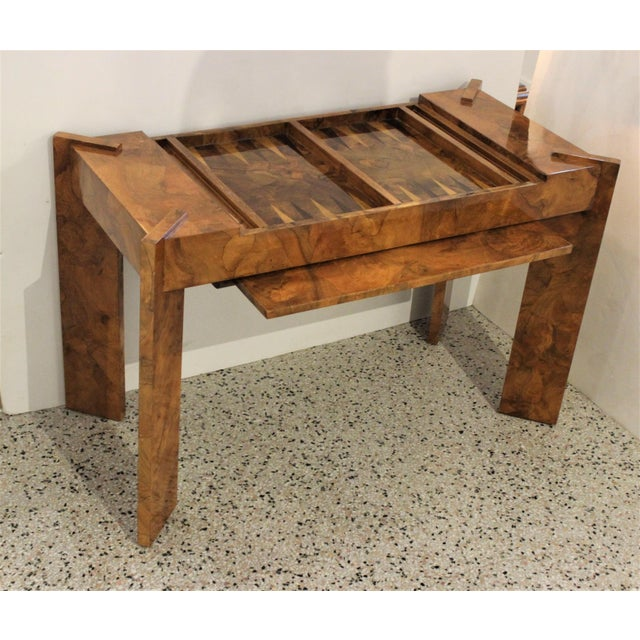 Olive Wood Games Table Backgammon Removable Tray Top Italy 1970s For Sale - Image 4 of 13