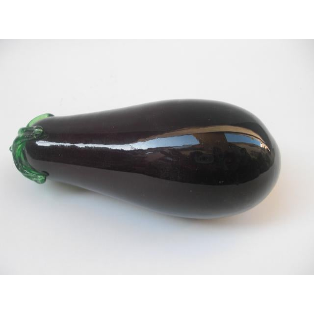 Modern Vintage Glass Eggplant Decorative Accessory For Sale - Image 3 of 5