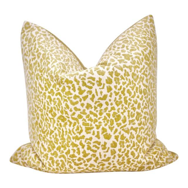 "Bassett McNab Company 22"" Square Chenille Leopardskin Pillow For Sale"