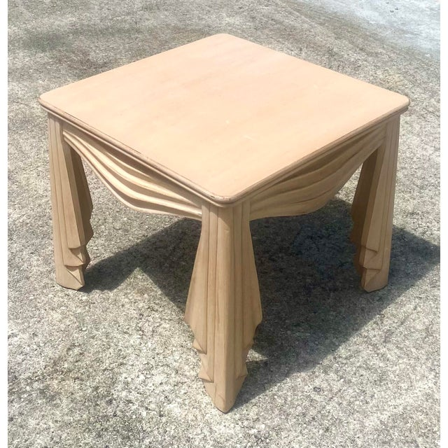 Late 20th Century Vintage Regency Swag Draped Side Table For Sale - Image 5 of 9