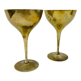 Pair Vintage Brass Coupe Goblets For Sale