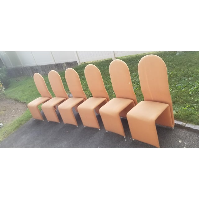Orange Olivier Mourgue Sculptural Ribbon Dining Chairs For Sale - Image 8 of 8