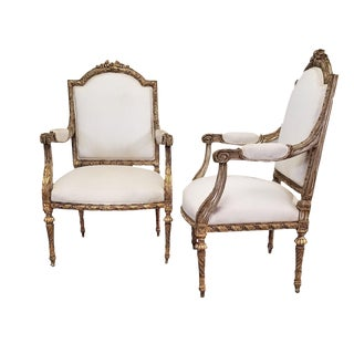 1900s Vintage French Louis XIV Style Arm Chairs- A Pair For Sale