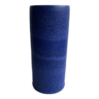 Modern Blue Porcelain Cylinder Vase For Sale