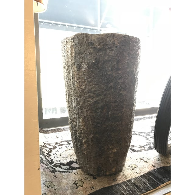 A unique smelting pot of aged metal material from France made in the 1940's. A handsome weathered smelting decorative piece.