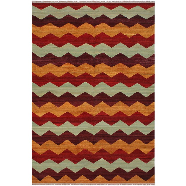 Abstract Kilim Margaret Hand-Woven Wool Rug - 6′4″ × 9′ For Sale