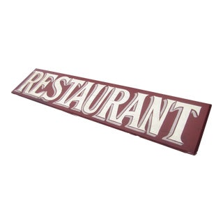 Vintage Hand-Painted Wooden Restaurant Sign For Sale
