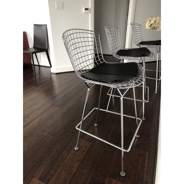 Bertoia Counter Stools With Seat Pads - Set of 3 - Image 9 of 11