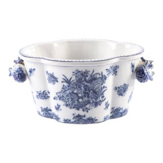 Blue & White Porcelain Cachepot For Sale