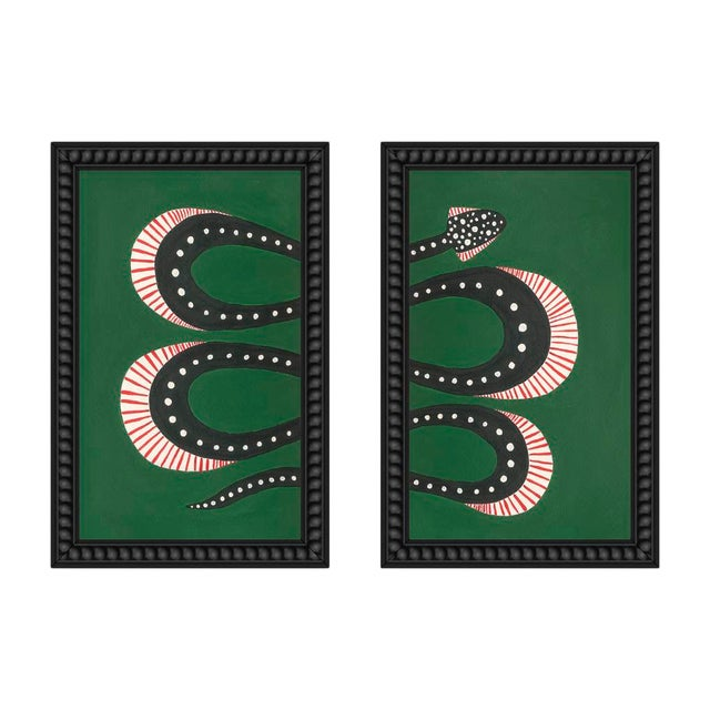 "Small ""Zucchini the Snake I and Ii"" Set of 2 Prints by Willa Heart, 26"" X 20"" For Sale"