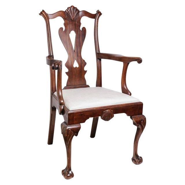 Set of Six 19th Century English, Chippendale Style Mahogany Dining Chairs - Image 1 of 8