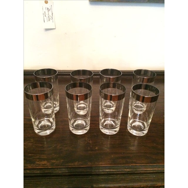 Silver Rimmed Highball Glasses - Set of 8 - Image 2 of 3
