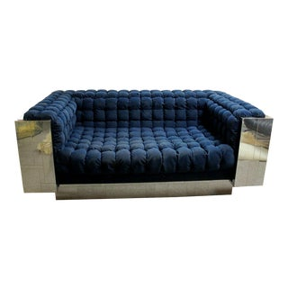 Mid Century Modern Paul Evans Cityscape Chrome Wrapped Tufted Sofa Loveseat For Sale