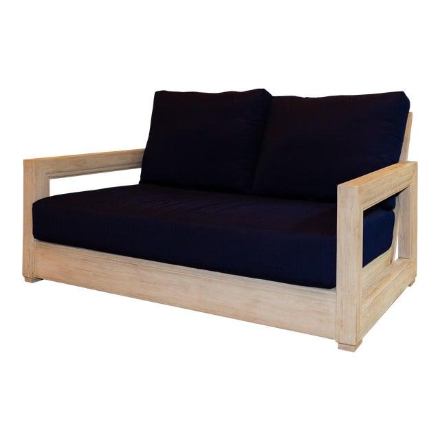 "Restoration Hardware 55"" Costa Teak Classic Sofa & Cushions For Sale"