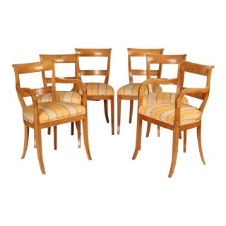 Directoire Style Dining Room Chairs - Set of 6 For Sale