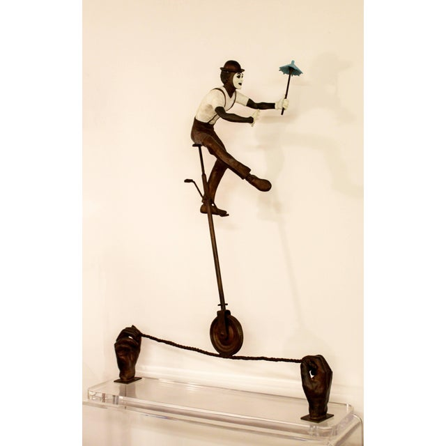 Modern Contemporary Jerry Soble Balancing Man Bronze Mime Sculpture, Signed, 1991 For Sale - Image 3 of 11
