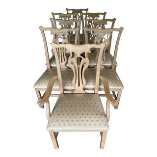 1980s Vintage Traditional Oak Dining Chairs- Set of 8 For Sale