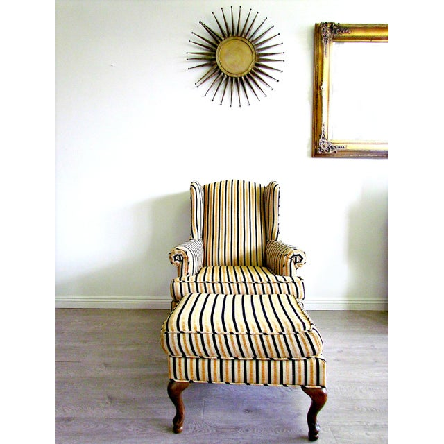 Wing-Back Striped Chair With Ottoman - Image 2 of 5