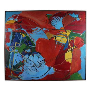 """""""Decision"""" Large Abstract Expressionist Oil, 1968 For Sale"""