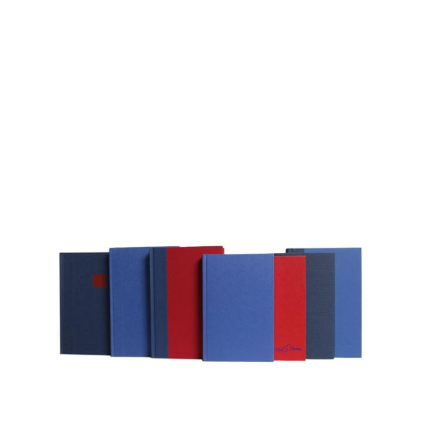 Modern Blue with Red Metallic Book Set, S/20. Twenty hardcover books in varied shades of blue. Various authors and...
