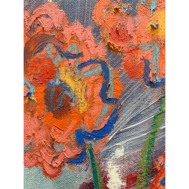 """""""You Brought Me Flowers"""" Contemporary Abstract Still Life Mixed-Media Painting by Monica Shulman For Sale - Image 4 of 6"""