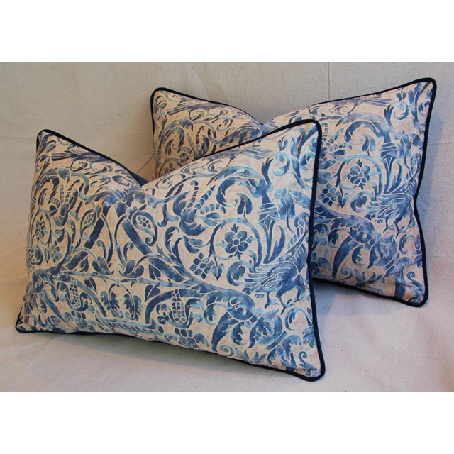 Italian Fortuny Uccelli Down Pillows - A Pair - Image 8 of 11