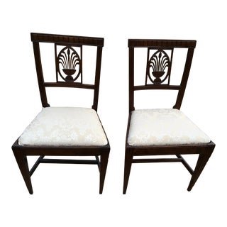 Late 18th Century Vintage Italian Neoclassical Wheat Back Side Chairs- A Pair For Sale