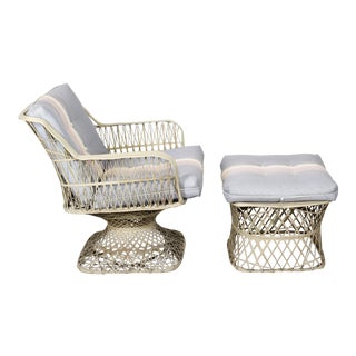 Vintage Fiber Glass Outdoor Lounge Chair With Ottoman - a Pair For Sale