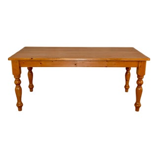 19th Century English Pine Farm Table For Sale