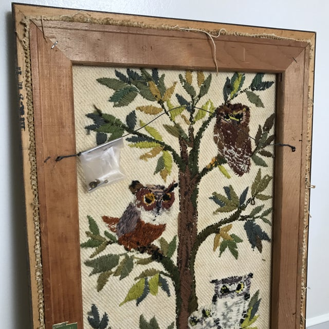 Mid-Century Embroidered Owl Artwork - Image 5 of 8
