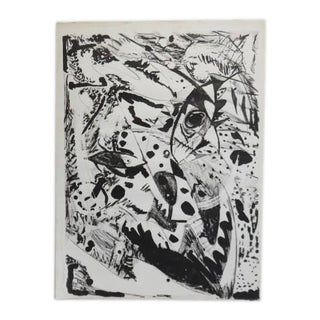 1980s Mid Century Modern Black and White Pastel Lithograph For Sale
