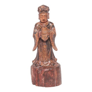 19th Century Chinese Carved Polychromed Altar Spirit For Sale