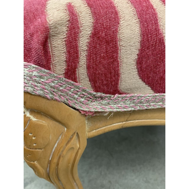 Pink French Carved Stool With Pink Zebra Print Fabric For Sale - Image 8 of 13