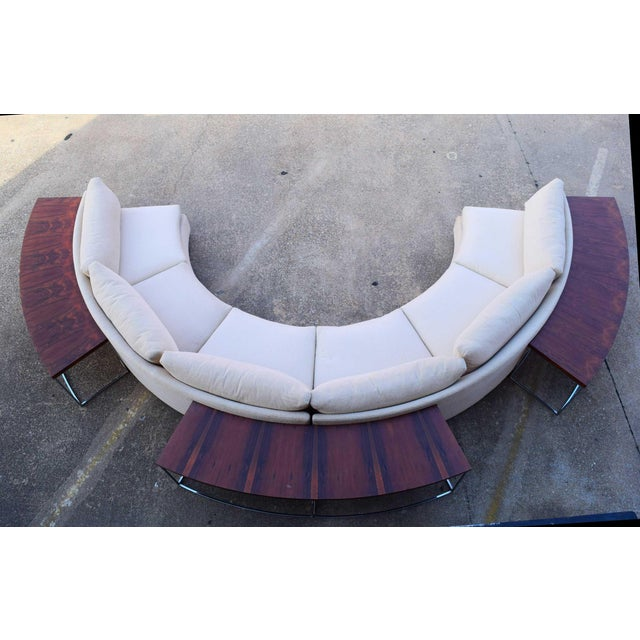 White 1960s Vintage Milo Baughman Semi-Circular Sofa With Rosewood Tables For Sale - Image 8 of 13