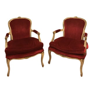 Antique Red Velvet Chairs - a Pair For Sale