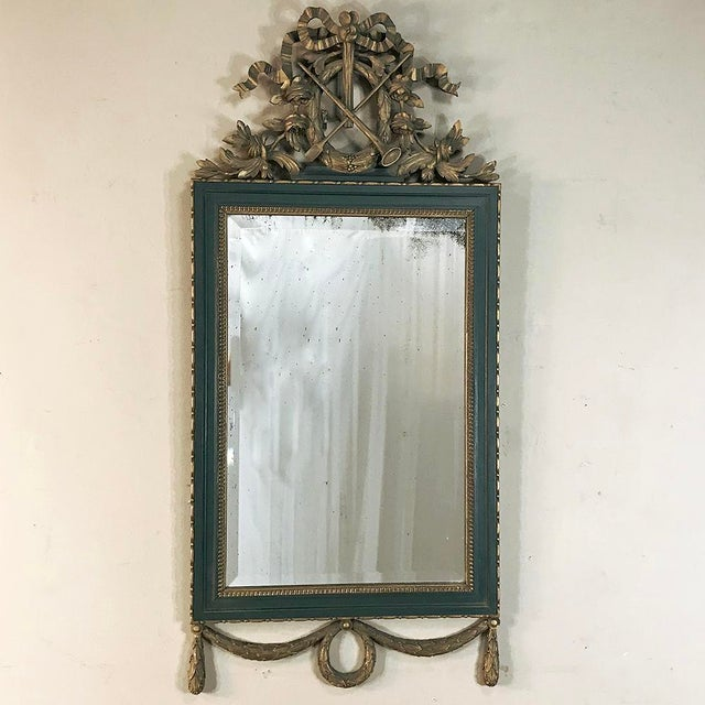 19th Century Italian Carved Wood Painted Marble Top Console With Mirror For Sale - Image 10 of 13