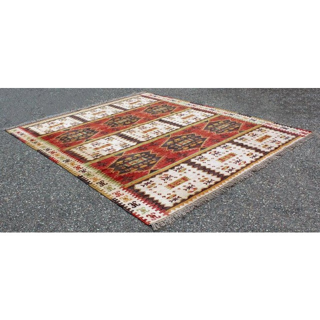Mid-Century Modern Rectangular Danish Area Rug 1960s Red Green Yellow For Sale - Image 4 of 6
