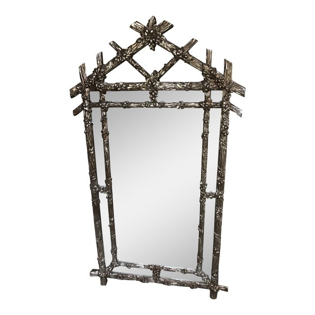 Gampel Stoll Silver Faux Bois Mirror For Sale