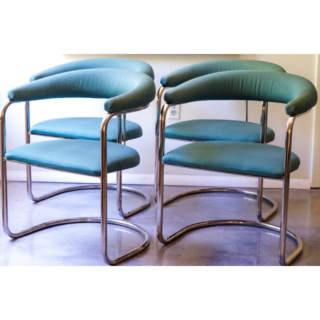 Thonet Tubular Chrome Teal Dining Chairs- Set of 4 - Image 9 of 9