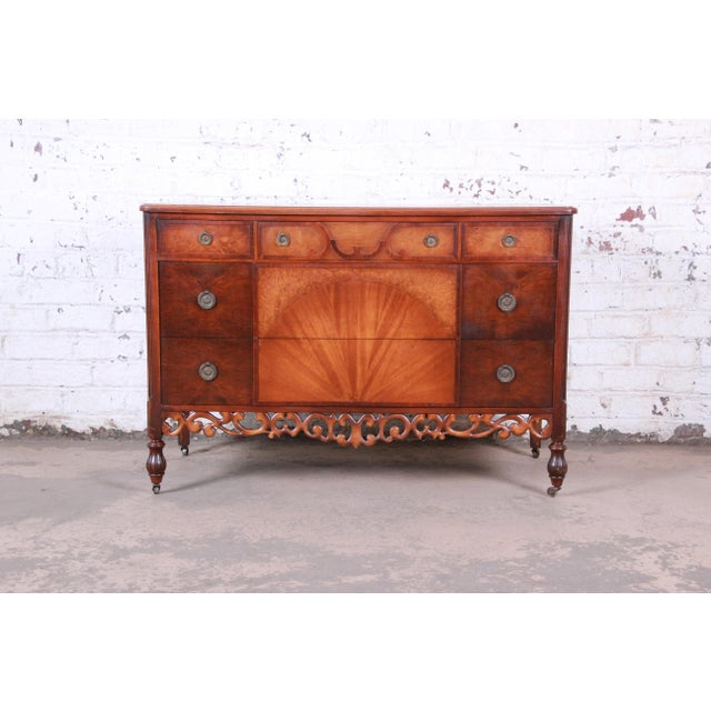 Early Herman Miller Carved Walnut and Burl Wood Five-Drawer Dresser With Mirror, Circa 1920s For Sale - Image 10 of 13