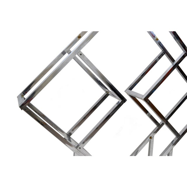 Vintage chrome geometric diamond shaped étagère attributed to Milo Baughman. The glass shelves will be custom-made prior...