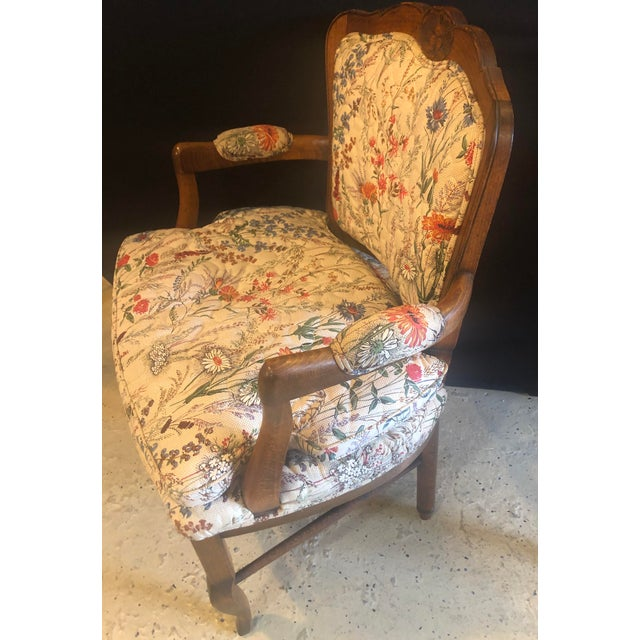 Textile Country French Boudoir Fauteuil Louis XV Chairs in Quilted Like Upholstery, Pair For Sale - Image 7 of 10