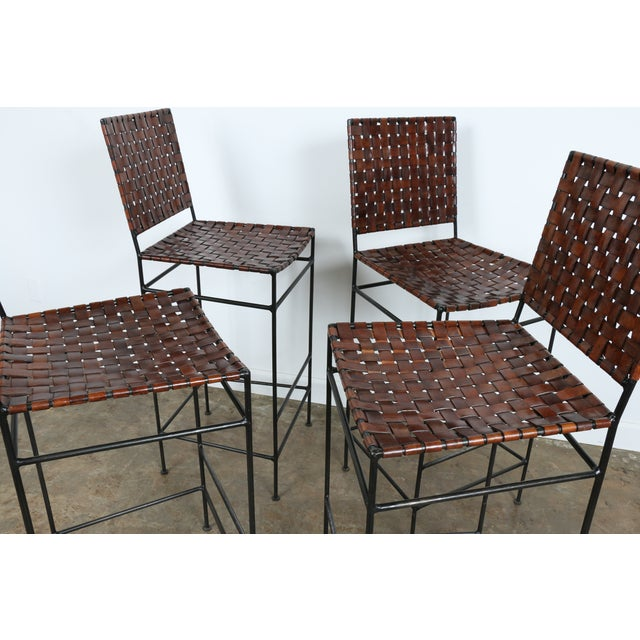 1990s Vintage Leather Bar Stools - Set of 4 - Image 8 of 11